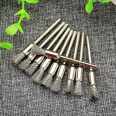 "10Pcs 1/8"" 6mm Stainless Steel Wire Drill Polishing Brush 3mm Shank  Rotary Tool"