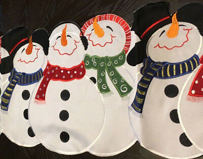 "Snowman Buddies Christmas Decor Table Runner Colorful Holiday Snowmen 68""x 13"""