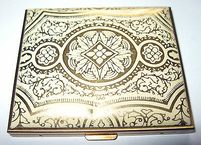 VINTAGE 1950's Italian FLORENTINE Gold Gilt LEATHER Powder MIRROR Square COMPACT