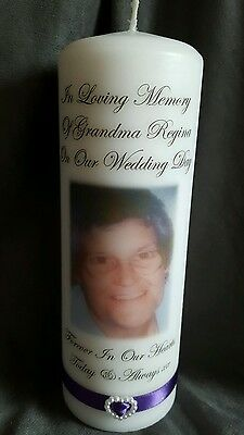 Personalised in loving memory photo picture wedding candle free postage