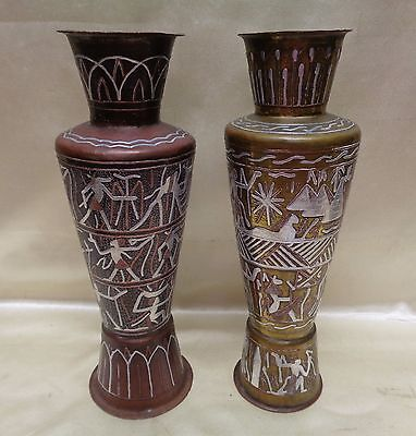 Decorative Pair of Antique Brass? Vases w Detailed Silver Egyptian Hieroglyphics