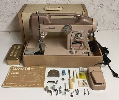 Vintage White Model 764 Heavy Duty Industrial Strength Sewing Machine with Case