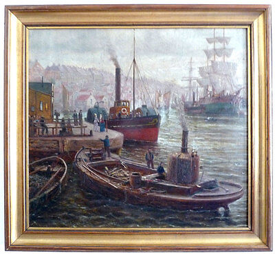 Harbour scene with Steam boats and Sailors, um 1900