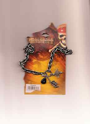 Pirates Of The Caribbean At World's End Necklace! Disney! Stone P Compass Charms