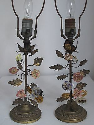 Antique French Pair of Brass Lamps with Beautiful Porcelain Flowers