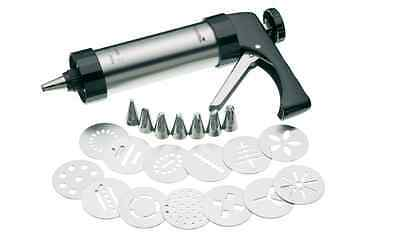 Master Class Deluxe Stainless Steel Cookie Press, Cake Icing Gun Set (22 Pieces)