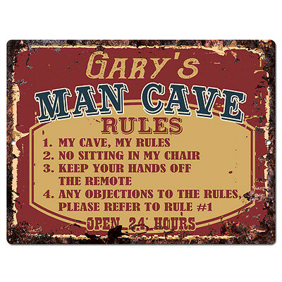 PPMR0026 GARY'S MAN CAVE RULES Rustic Tin Chic Sign man cave Decor Gift