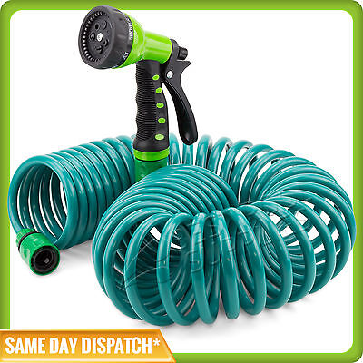 Expandable Flexible Coiled Garden Hose with a 7 pattern Spray Gun - 15m / 50ft