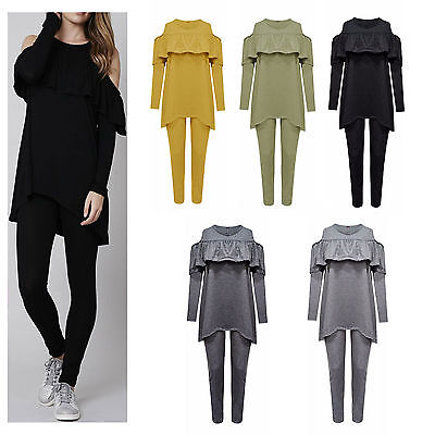 Womens Ladies Cold Shoulder Frill Ruffle Loungewear Hi Low Jogging Set Tracksuit