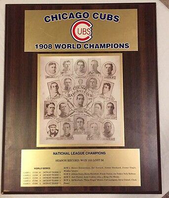 1908 Chicago Cubs World Series Champions Wooden Plaque Mlb Certified