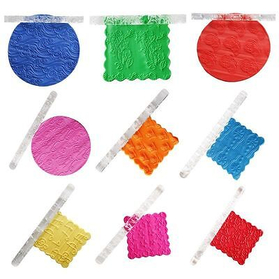 19 Designs Textured Embossing Acrylic Rolling Pin Cake Decorating Fondant Tools