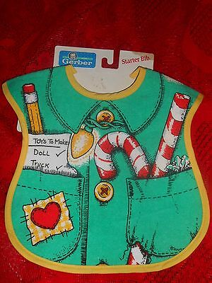 X~Vintage~NOS NEW~GERBER Christmas ELF Vest VINYL Back~Cotton Front Baby BIB