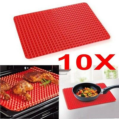 10x Pyramid Pan Non Stick Fat Reducing Silicone Cooking Mat Oven Bake Tray Sheet