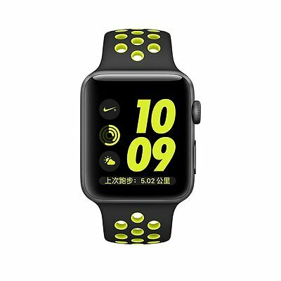 Black Yellow Nike Style Sports Silicone Bracelet Strap Band For Apple Watch 42mm