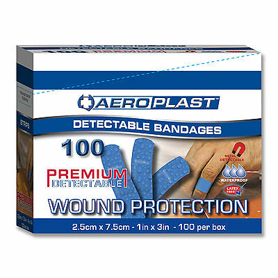 Detectable Extra Wide Plasters Aeroplast 100 in Blue