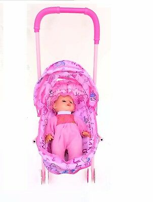 Set Of Dolls Buggy Stroller Pram Pushchair with Baby Doll Girls Toy