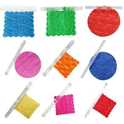 Textured Embossing Acrylic Rolling Pin Cake Decorating Fondant Tools 20 Shapes