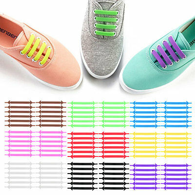 12Pcs/Set Creative Unisex Running No Tie Shoelaces Elastic Silicone Shoe Lace AU