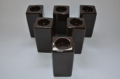 job lot of 6 colony SQUARE TALL DARK BROWN TEALIGHT HOLDERS M8307