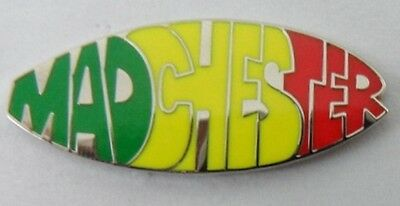 Madchester enamel badge.Stone Roses,Happy Mondays,Inspiral Carpets,Ian Brown.