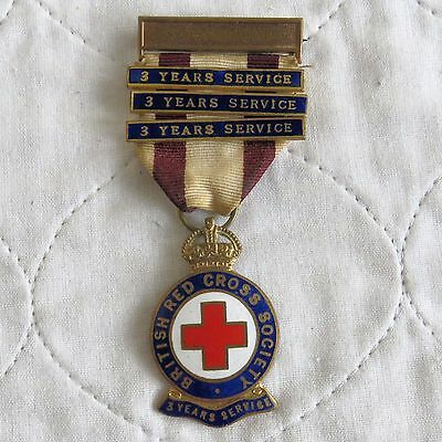 British Red Cross 3 Year Service Enamelled Medal With Ribbon And 3 X 3 Year Bars
