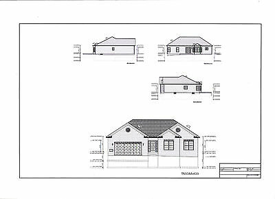 Full Set of single story 3 bedroom house plans 1,776 sq ft
