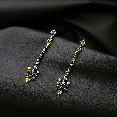 Boucles d'Oreilles Clous Doré Long Fin Art Deco Filigrane Perle Gris Class B13