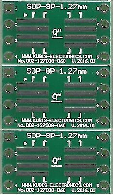 "3 PCS. - SO8,SOP8,SOIC8 1.27mm(0.05"") to DIP8 0.6"" socket. [AU]"