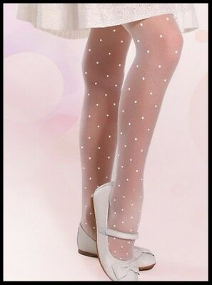 Girls White Patterned Tights Dots Dotted Communion Bridesmaids 6 7 8 9 10 12 + Y