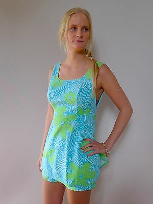 vintage retro true 60s 10 S play suit shorts aqua Nali Hawaii excellent