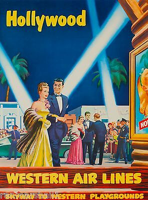 Hollywood California Vintage United States America Travel Advertisement Poster