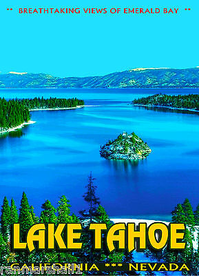 Lake Tahoe California Emerald Bay United States Original Travel Poster ShaynaMar
