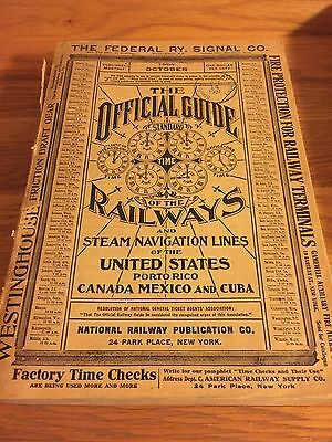 Vintage 1907 OFFICIAL GUIDE OF THE RAILWAYS BOOK Travel America Year! Ads, Maps