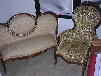 Antique Victorian Loveseat & Chair * Need Reupholster * Loveseat leg repaired *