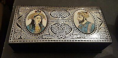 rare antique/vintage inlaid silver and enamel box, islamic?