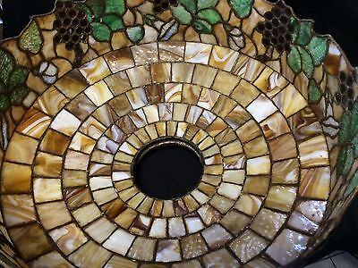 """Impressive Early 1900s 24"""" Leaded Glass Chandelier w/Square Mission Chain/Canopy"""