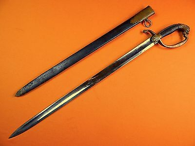 German Germany WWI  WW1 Lion Head Wide Blade Short Sword w/ Scabbard
