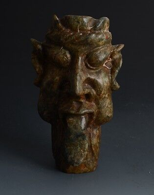 Chinese SanXingDui Style Sacrificial Ceremony Large Jade Head Statue-JR11966