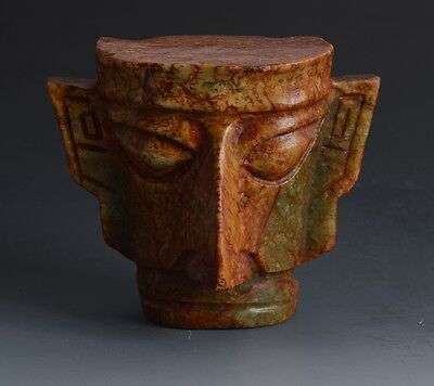 Chinese SanXingDui Style Sacrificial Ceremony Wizard Head Jade Statue-JR11959
