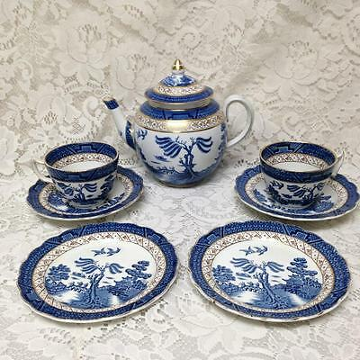1910-30s, Rare, Booths Old Willow A8025, England, 8-pc Blue Willow Trio-Tea Set