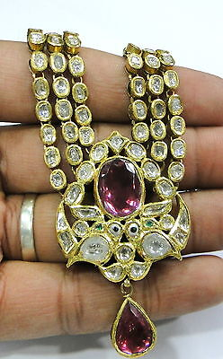 Vintage antique solid 20K Gold jewelry Diamond polki Rhodolite necklace pendant