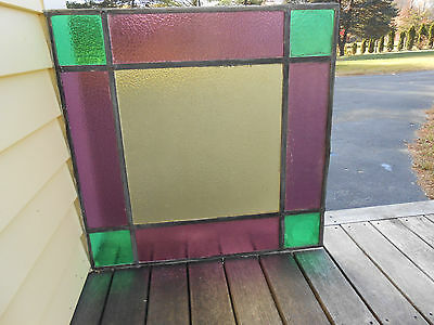 "ANTIQUE  LEADED STAINED GLASS WINDOW PANEL  24"" x 24""  1880's ?"