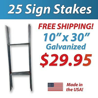 """25 Wire Stakes """"H"""" Stake - Sign Stakes Yard Sign Stakes Political Free Shipping"""