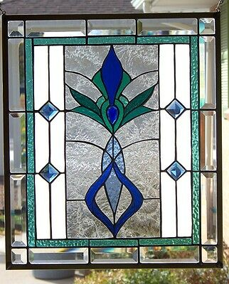 Stained Glass Art Deco window hanging 21 X 17 3/4'
