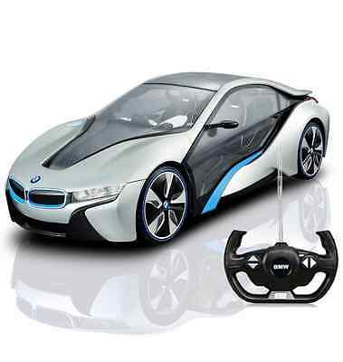 Official Bmw I8 1/14 R/c Remote Control Car Silver With Light Effects