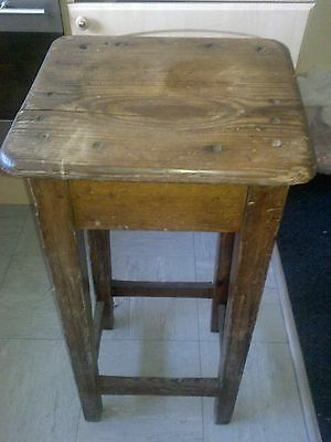 "WOODEN STOOL VERY OLD & WELL USED 32""h x 14"" x 12"" SHAPED SEAT"