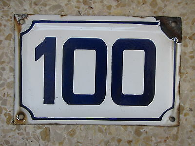 vintage  ISRAELI 100 enamel porcelain number  house sign # 100 CHRISTMAS SALE  !
