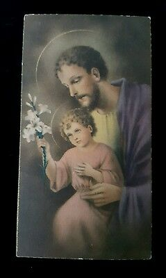 Vtg Christian Catholic SAINT Joseph w INFANT JESUS Litho Art Souvenir CARD 1930s