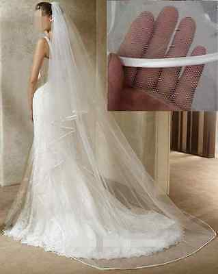 3 M Ivory White 2T Cathedral Wedding Veil Bridal Veils Satin Edge With Comb