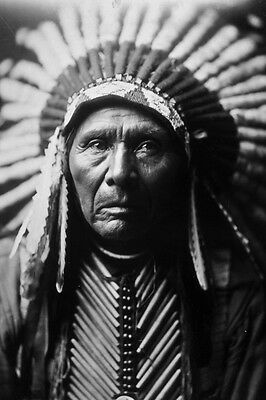 New 5x7 Native American Photo: Chief Three Horses, Unknown Indian Tribe - 1905